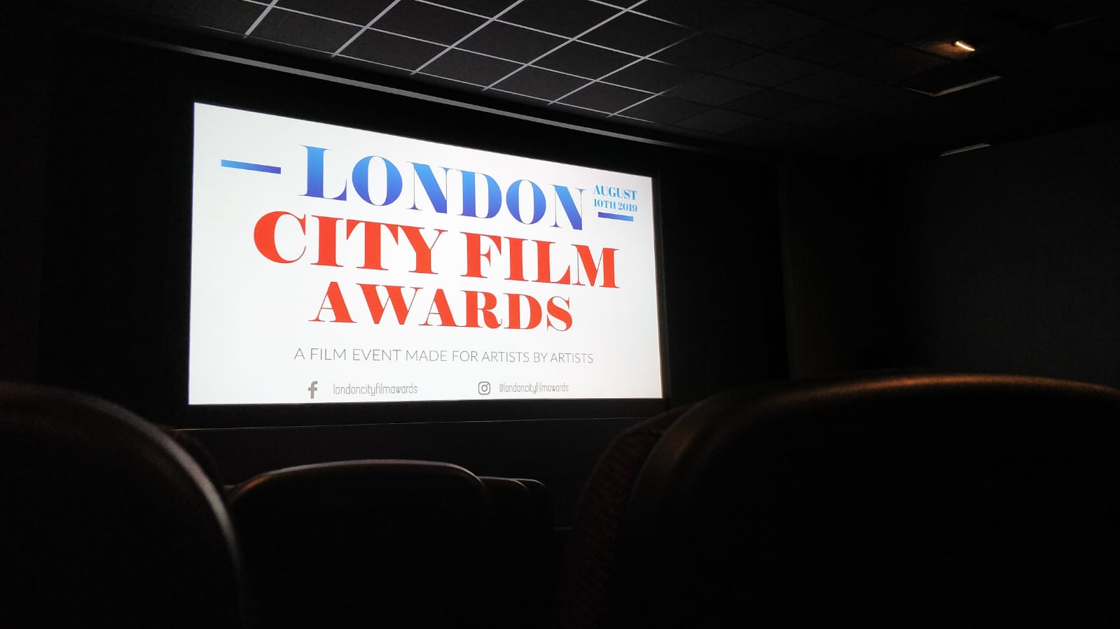 The big screen at the London City Film Award 2019
